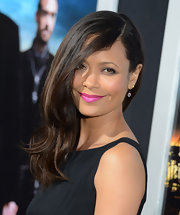 Thandie pulled off hot pink lipstick like no other at the premiere of 'Rogue' in Hollywood.