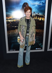 Carolyn Hennesy chose these flared jeans with green trim at the hem for her hippie-inspired look at the premiere of 'Rogue.'