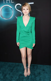 Taylor Sprietler looked appropriately sleek and modern in this green dress with a deep v-neck at the premiere of sci-fi flick 'The Host.'