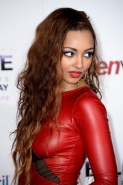 Jessica Jarrell teamed messy waves with a red leather dress for a sexy-edgy look during the premiere of 'Justin Bieber's Believe.'