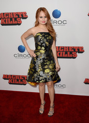 Debby Ryan chose a girly strapless brocade dress by Osman for the premiere of 'Machete Kills.'
