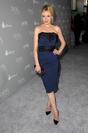 Bar Paly flaunted her slim figure in a blue strapless dress with a black waistband and bust detail during the premiere of 'Dior and I.'