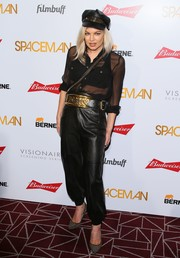 Fergie made an appearance at the premiere of 'Spaceman' wearing a sheer black button-down.