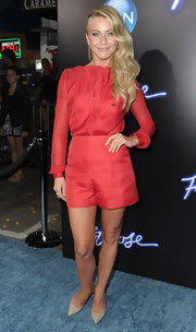 Julianne Hough accessorized her red hot ensemble with a pair of 'Modernist' pumps in nude.