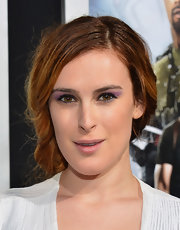 Rumer Willis chose a simple nude lip so as not to compete with her bright purple eyeshadow.