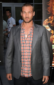 Andy Whitfield's gray blazer and print button-down at the 'Middle Men' premiere were a super handsome pairing.