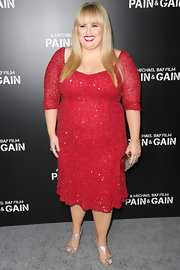 Rebel Wilson dazzled on the red carpet when she wore this three-quarter sleeve dress at the premiere of 'Pain & Gain.'