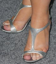 Rebel Wilson chose these sparkly, silver evening pumps for her look at the 'Pain & Gain' premiere.