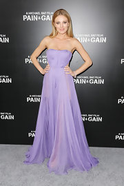 Bar Paly chose a sheer lavender strapless gown for her soft and feminine red carpet look.
