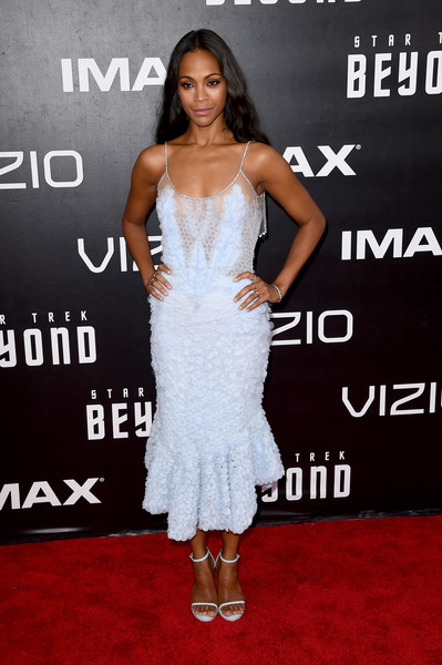 Zoe Saldana complemented her dress with a pair of powder-blue ankle-strap sandals, also by Givenchy.