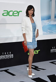 Catherine's baby blue ruffled frock had a soft and feminine look at the 'Star Trek Into Darkness' premiere in Hollywood.