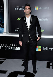 Zachary Quinto opted for a totally sleek and simple black suit with white piping at the 'Star Trek Into Darkness' premiere in Hollywood.