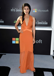 Nazneen Contractor dazzled in a bold burnt orange gown at the 'Star Trek Into Darkness' premiere.
