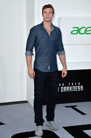 Derek Theler's blue denim button down kept his red carpet look on the casual side at the 'Star Trek Into Darkness' premiere.