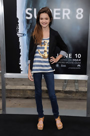 Ciara Bravo finished off her outfit with a chic pair of platform sandals.