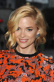 Jaime King completed her sequin cocktail dress with square gemstone stud earrings.