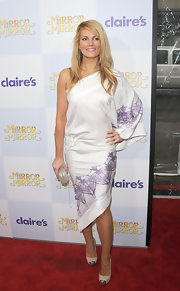 Courtney Hansen wore this boxy white dress with lilac print trim to the 'Mirror Mirror' premiere in Hollywood.