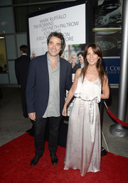 Leslie Urdang went for a boho feel with this silver maxi dress when she attended the 'Thanks for Sharing' premiere.