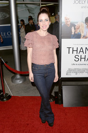 Zoe Lister Jones looked laid-back in jeans and a ruffle-sleeve blouse at the 'Thanks for Sharing' premiere.