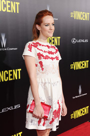 Jena Malone paired a red hard-case clutch by Edie Parker with an embroidered mini dress for the New York premiere of 'St. Vincent.'