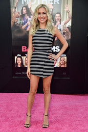 Kristin Cavallari kept it youthful in a gray and black striped crop-top at the premiere of 'Bad Moms.'