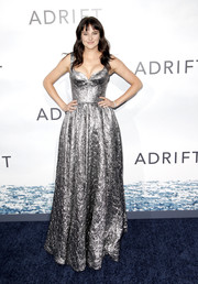 Shailene Woodley was all about futuristic glamour in a silver foil gown by Rochas at the premiere of 'Adrift.'