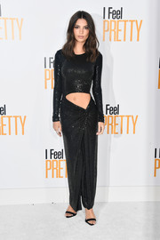 Emily Ratajkowski flashed her flat abs in a sparkling black cutout gown by Michael Kors at the premiere of 'I Feel Pretty.'