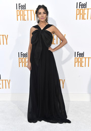 Olivia Culpo looked enchanting in a black Ester Abner halter gown with draped bow detailing at the premiere of 'I Feel Pretty.'
