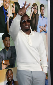 Sean Combs looked comfy yet stylish in a white sweatshirt at the premiere of 'Think Like a Man.'