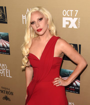Lady Gaga sported pointy red nails to match her gown at the premiere of 'American Horror Story: Hotel.'
