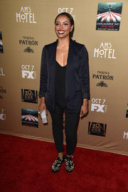 Kat Graham rocked an oversized navy blazer by AYR at the premiere of 'American Horror Story: Hotel.'