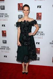 Sarah Paulson looked so girly in this feather-appliqued off-the-shoulder dress at the premiere of 'American Horror Story: Asylum' in Hollywood.
