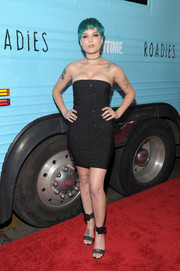 Halsey capped off her edgy-sexy look with studded black ankle-cuff sandals.