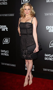 Greta Gerwig wore this lacy black dress to the 'Damsels in Distress' premiere..