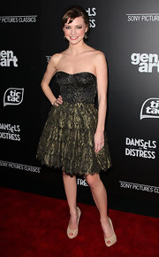 Carrie MacLemore wore this strapless lacy dress to the 'Damsels in Distress' premiere.
