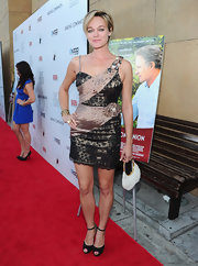 Crystal Allen wore a shimmery pair of black beaded sandals with ankle straps to the premiere of 'Darling Companion.