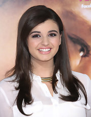 Rebecca Black wore her hair smooth with lots of shine and a sweep side part at the premiere of 'The Vow.'