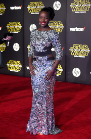 Lupita Nyong'o brought a high dose of sparkle to the 'Star Wars' red carpet with this stone-encrusted gown by Alexandre Vauthier Couture.