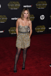 Catt Sadler slipped into a tiny gold and silver strapless dress by Matthew Williamson for the 'Star Wars: The Force Awakens' premiere.