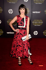 Constance Zimmer worked an abstract-print fit-and-flare dress at the 'Star Wars: The Force Awakens' premiere.
