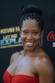 Regina King perfectly complemented her braided updo with a pair of diamond hoops when she attended the 'Kevin Hart: Let Me Explain' premiere.