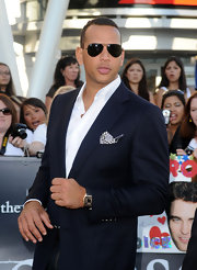 Alex Rodriguez paired his sleek suit with classic aviator shades.