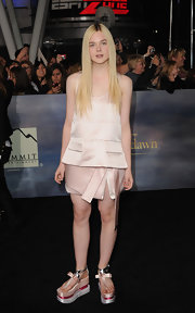 Elle looked unique at the 'Breaking Dawn' LA premiere in this satin blush cocktail dress and funky footwear.