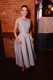 Sutton Foster cut a girly silhouette in a lilac Maticevski dress with a super-flared skirt during the 'Younger' after-party.