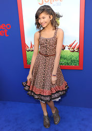 Zendaya cinched her waist with this skinny woven leather belt.