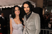 Singer Katy Perry and actor/comedian Russell Brand arrive at the premiere of Touchstone Pictures and Miramax Films'