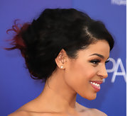 Jordin's hair looked rich in color and texture in this thick gorgeous updo.