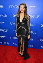 Carmen looked provocative yet elegant in this beaded black gown at the 'Sparkle' premiere.