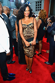 Garcelle walked on the wild side in this leopard corset dress at the 'Sparkle' Hollywood premiere.