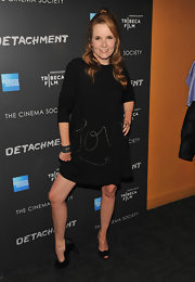 Lea Thompson was feeling the love in this shift dress at the Tribeca Film event.